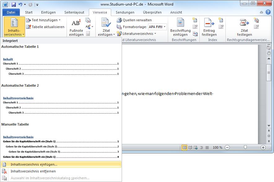 Automatisches Inhaltsverzeichnis Word